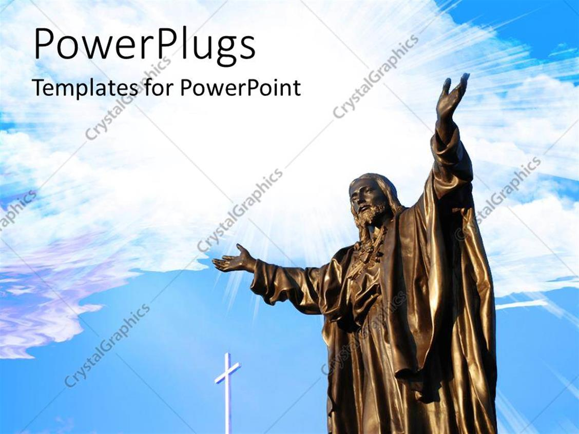 PowerPoint Template Displaying a White Cross with a Tall Bronze Statue of Jesus Christ