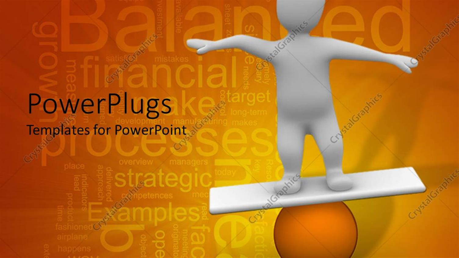 PowerPoint Template Displaying White Figure Balancing on Orange Ball, Business Word Cloud Background