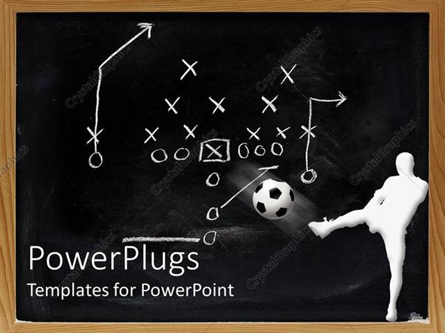 white_figure_kicking_ball_front lg 12845 0 powerpoint template white figure kicking ball in front of sports