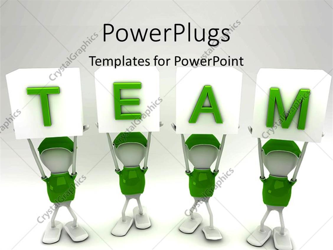 PowerPoint Template Displaying White Figures in Green Uniforms Holding Up TEAM Alphabet Blocks