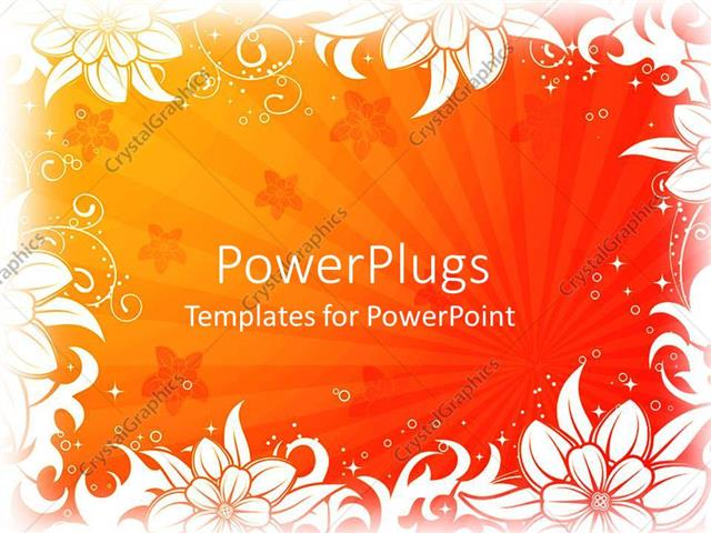 PowerPoint Template Displaying White Floral Pattern Frame on Gradient Red Orange and Yellow Background with Sunrays