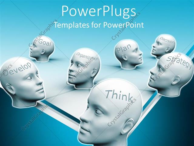 PowerPoint Template Displaying White Human Heads with Business Success Words, Thhink, Develop, Decision, Goal Etc