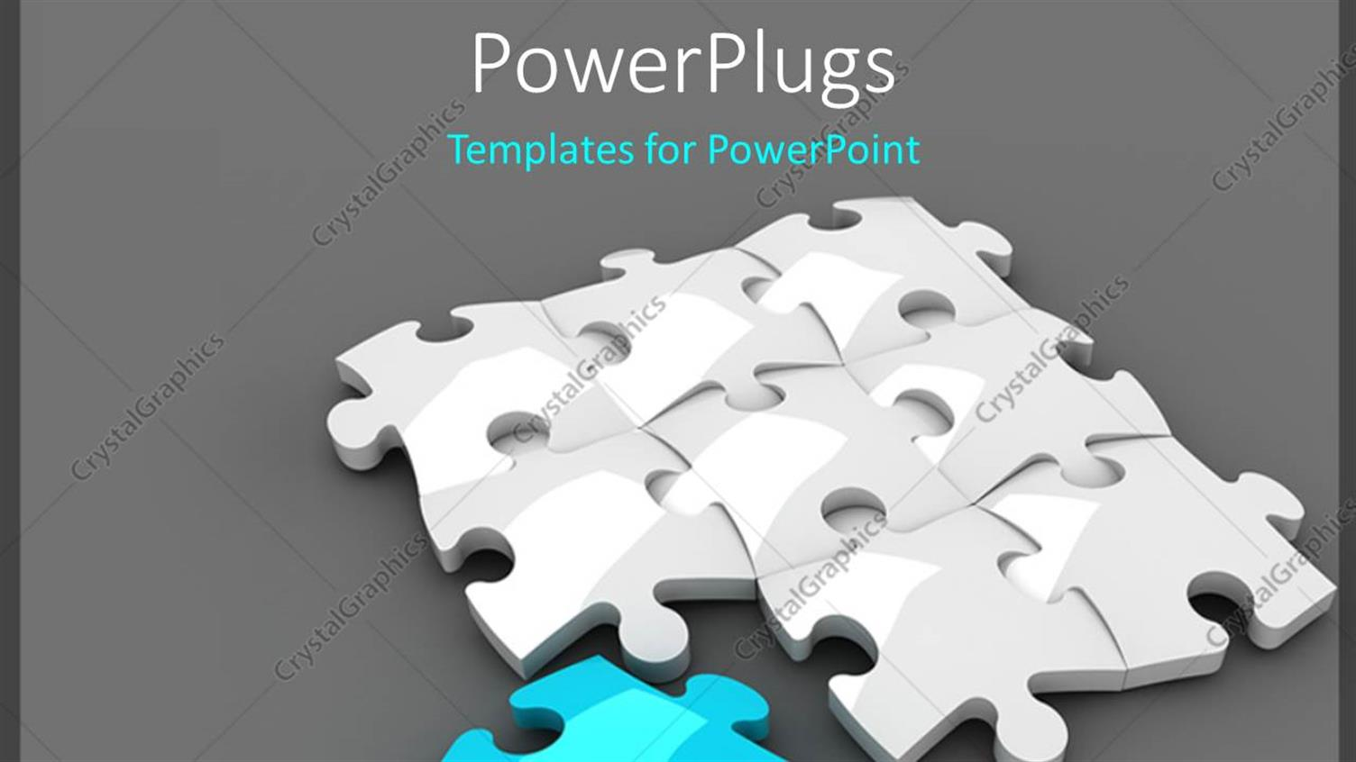 PowerPoint Template Displaying White Jigsaw Puzzle with a Blue Piece on Grey Background with Shadow