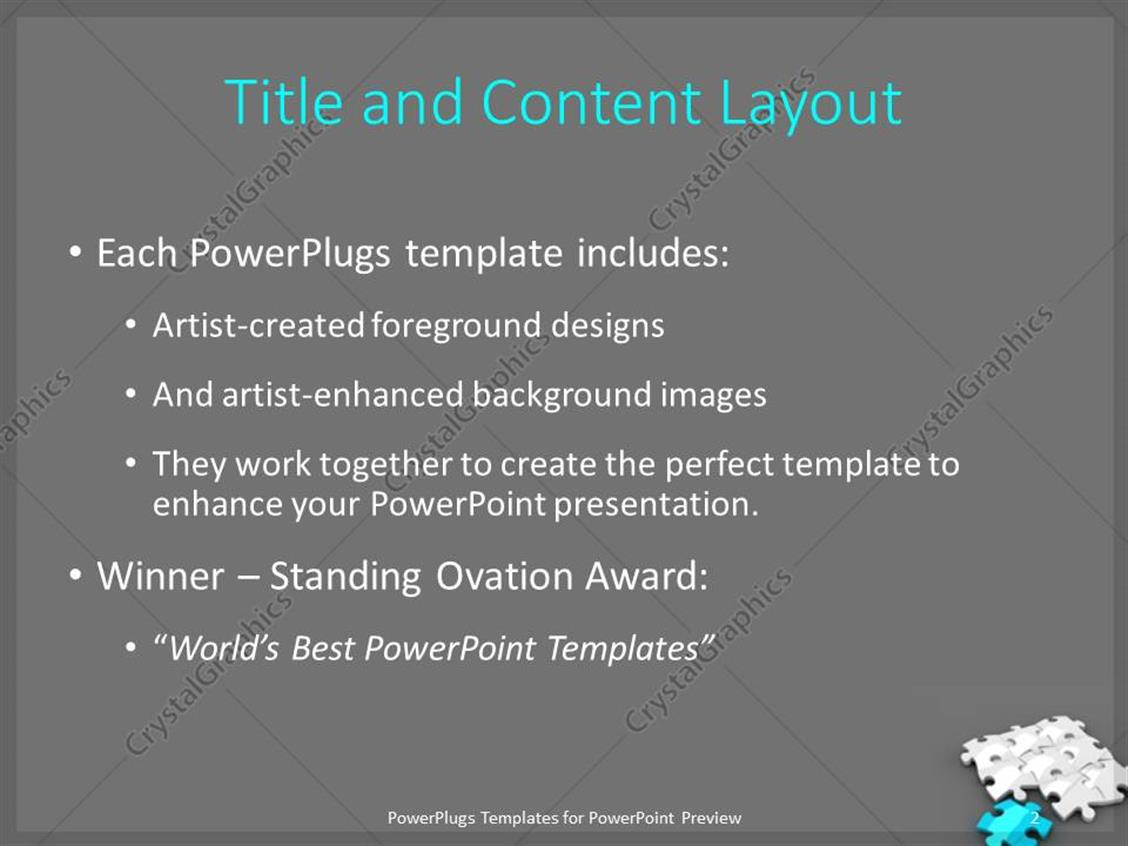 PowerPoint Template: white jigsaw Puzzle with a blue piece on grey ...