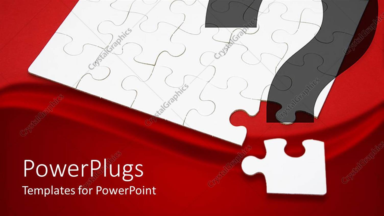 PowerPoint Template Displaying White Jigsaw Puzzle Next to Corner Puzzle Piece in Red Background