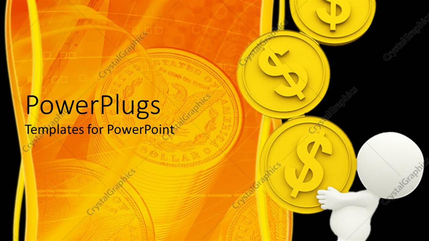 PowerPoint Template Displaying White Man Carrying Golden Coins with Dollar Sign