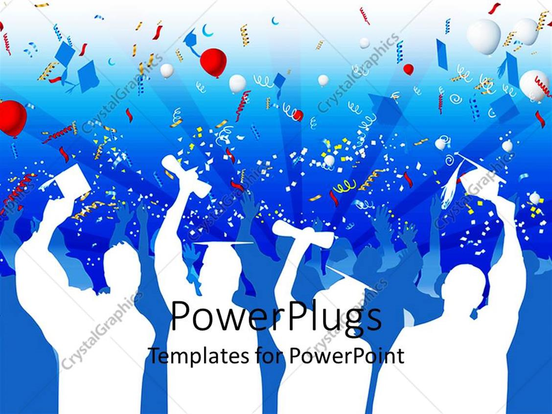 PowerPoint Template Displaying White Silhouettes of Graduates with Caps and Diplomas Celebrating Graduation with Balloons, Streamers, Confetti