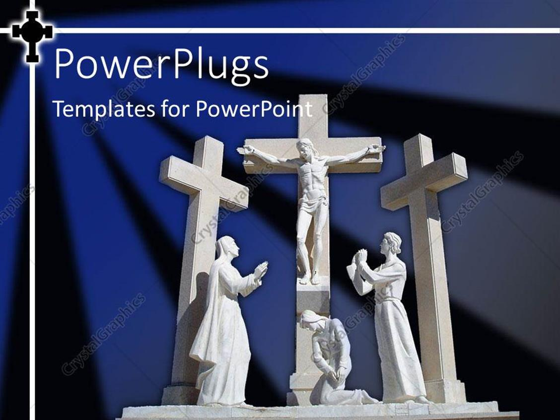 PowerPoint Template Displaying White Statue of Christ on Cross Surrounded by Three People
