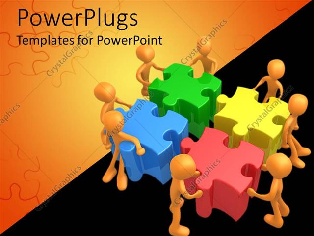 Powerpoint template wight 3d figures working in team to put four 3d powerpoint template displaying wight 3d figures working in team to put four 3d colorful jigsaw puzzle toneelgroepblik Images