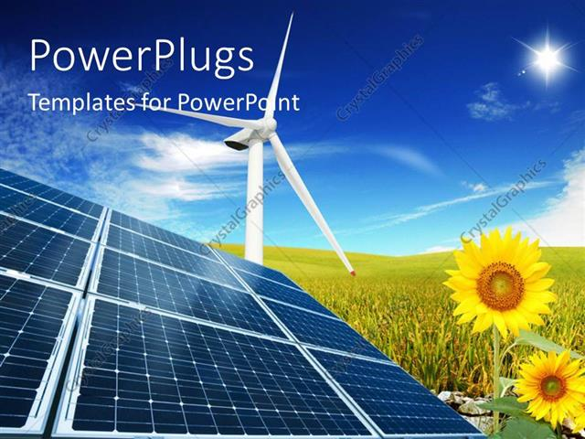 Powerpoint Template Windmill With Solar Panels In Cloudy Sky And