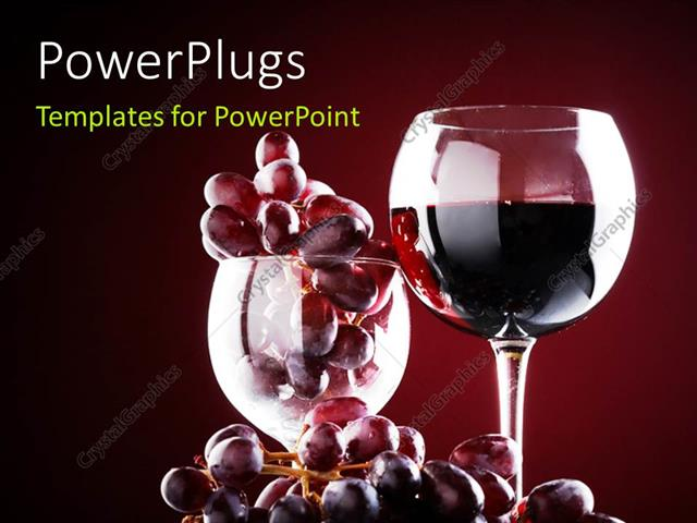 Powerpoint template wine glass with red wine and red grapes over powerpoint template displaying wine glass with red wine and red grapes over a dark maroon background toneelgroepblik Image collections