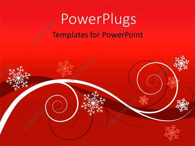 PowerPoint Template Displaying Winter Red Floral Background Christmas Greeting Card