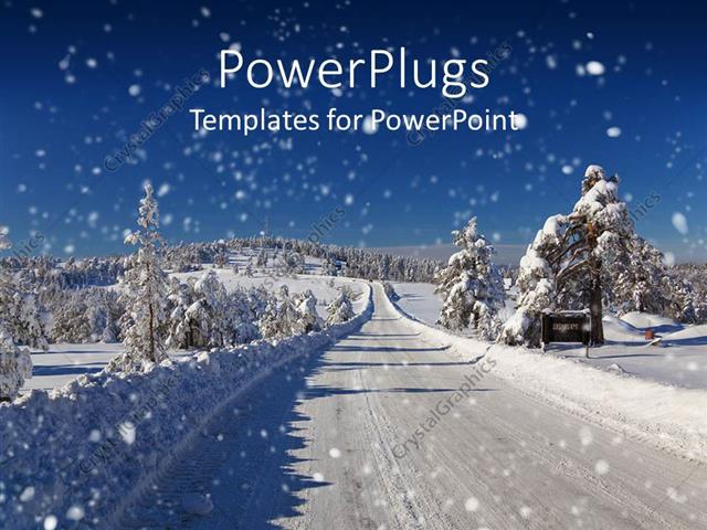 Powerpoint template winter snow covered road and trees road snow powerpoint template displaying winter snow covered road and trees road snow plowed toneelgroepblik Choice Image