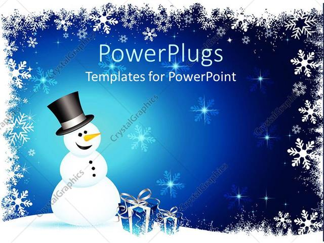 PowerPoint Template Displaying Winter Theme with Happy Smiling Snowman and Blue Gift Boxes with Silver Ribbons on Snowflake Setting and Blue Background