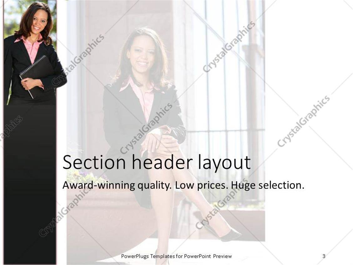 Powerpoint template woman in business attire sitting with legs powerpoint template displaying woman in business attire sitting with legs crossed 93 of fortune 1000 companies use our flashek Image collections