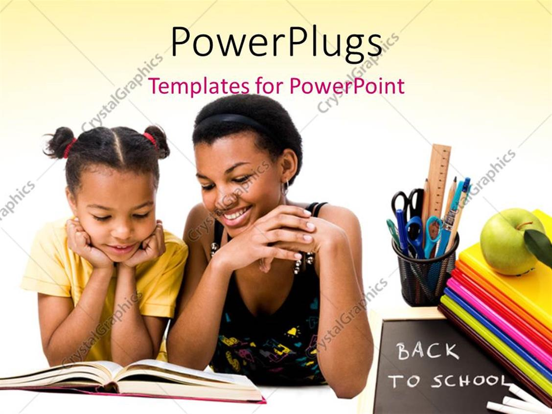 PowerPoint Template Displaying Woman and Girl Reading the Book Together with Green Apple on Books, Slate with Back to School Written and White Color