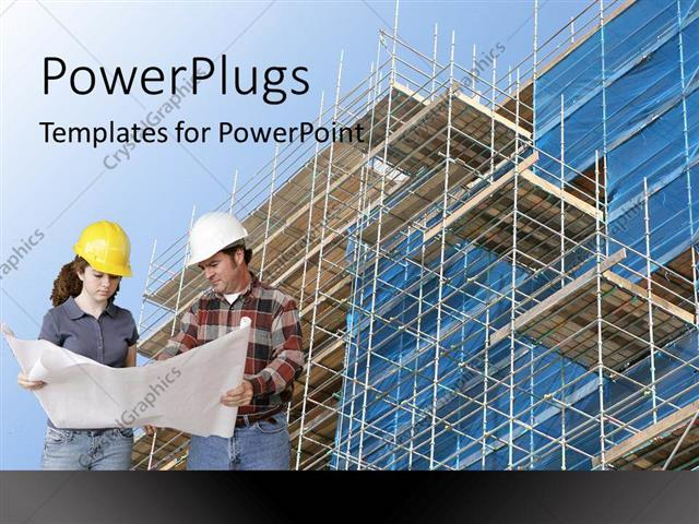 Powerpoint template woman and man builders holding a blueprint of a powerpoint template displaying woman and man builders holding a blueprint of a building standing in front toneelgroepblik Choice Image