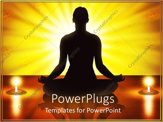 PowerPoint Template Displaying Woman Silhouette Performing Yoga Meditation Exercise With Two Lit Candles