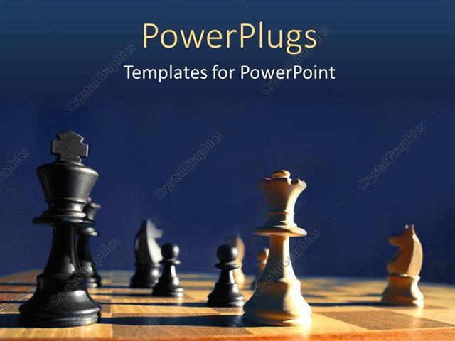 PowerPoint Template Displaying Wooden Chess Board with Chess Pieces During a Chess Game