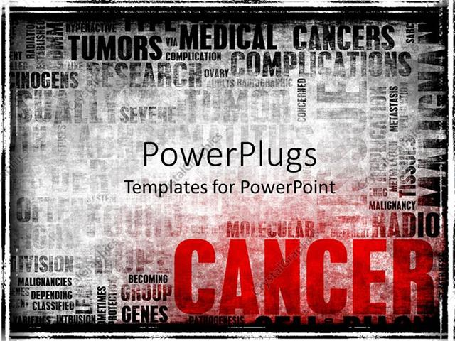Powerpoint Template Word Cloud With Cancer Related Terms In Black