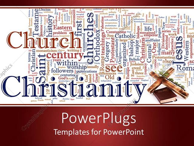 powerpoint template word cloud catholicism and christianity with