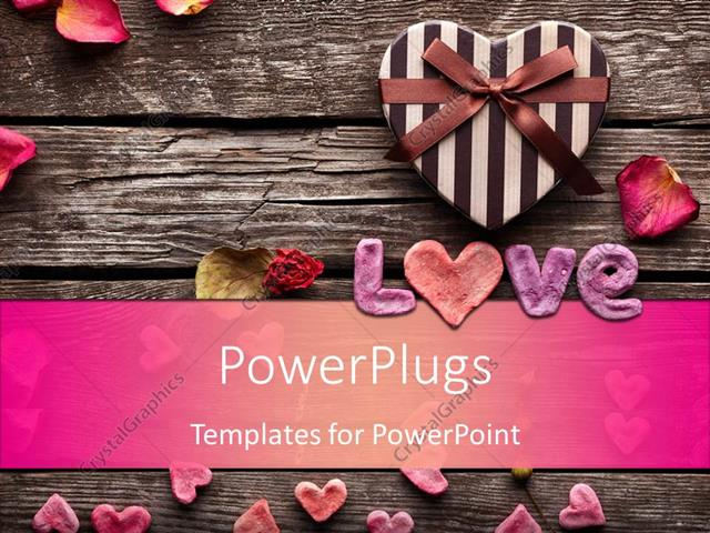 Powerpoint Template Word Love With Heart Shaped Valentines Day Gift