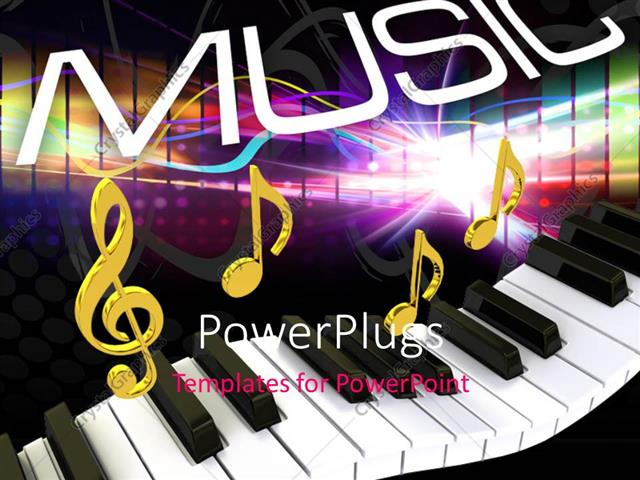 powerpoint template displaying word music above gold musical notes and piano keyboard
