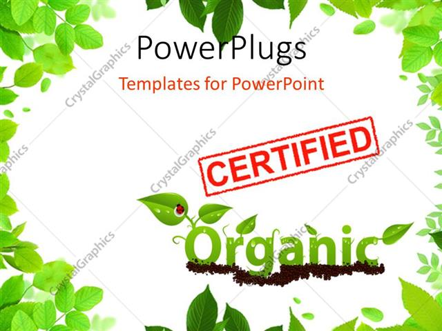 PowerPoint Template Displaying the Word Organic Written with the Help of Leaves