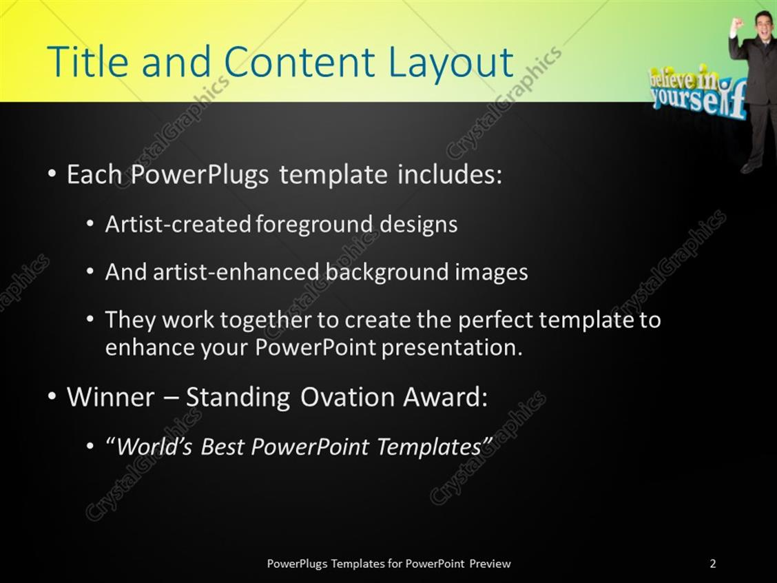 Powerpoint template the words believe in yourself with a man powerpoint products templates secure standing ovation award toneelgroepblik Images