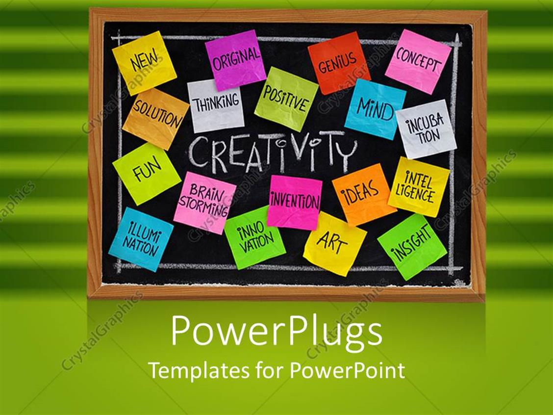 PowerPoint Template Displaying Workplace Business Creativity Chalkboard with Sticky Notes on Green Background