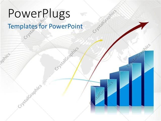 Powerpoint Template World Map In Background With Blue Bar Charts
