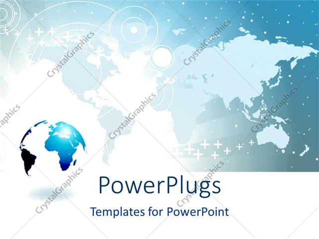 Powerpoint template a world map behind a blue and white colored powerpoint template displaying a world map behind a blue and white colored earth globe toneelgroepblik Choice Image
