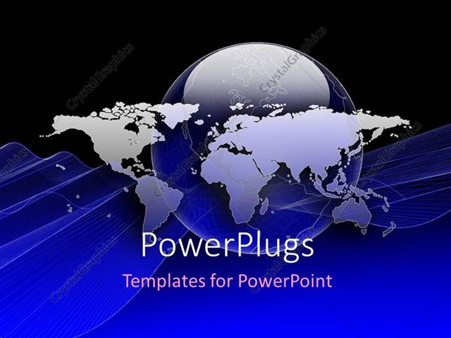Powerpoint Template World Map Placed Over Globe With Blue Color 65