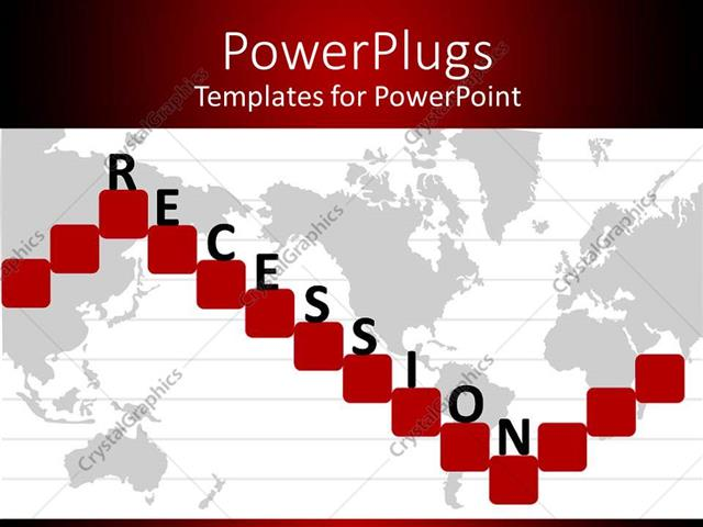 Powerpoint Template World Map With Red Squares Showing Economic