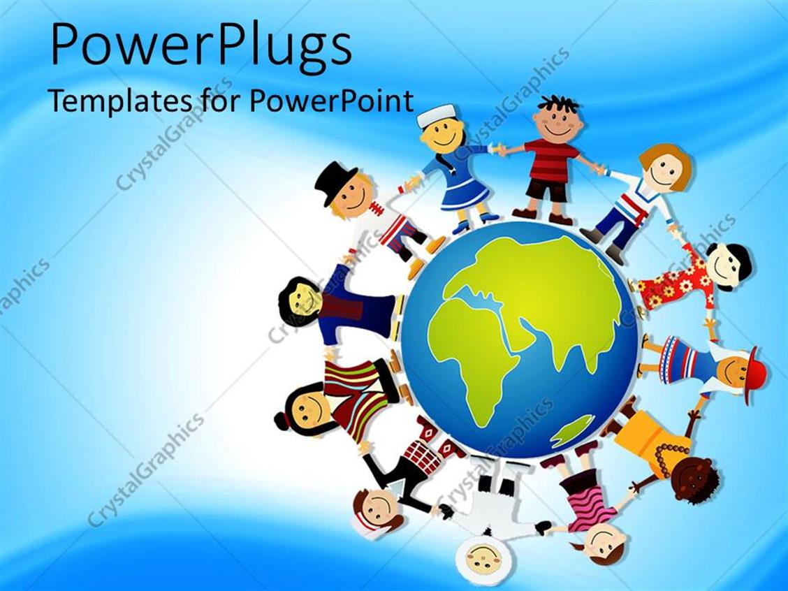 PowerPoint Template Displaying World Peace Depiction, Different Races of the World