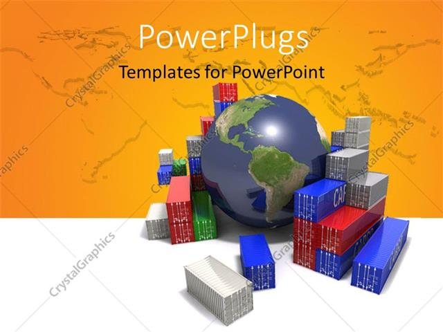 Powerpoint Template World Trade Concept Globe Surrounded By