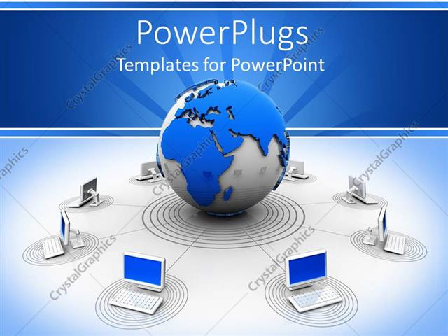 Powerpoint template worldwide web theme with globe giving signals powerpoint template displaying worldwide web theme with globe giving signals to laptops around it toneelgroepblik Images