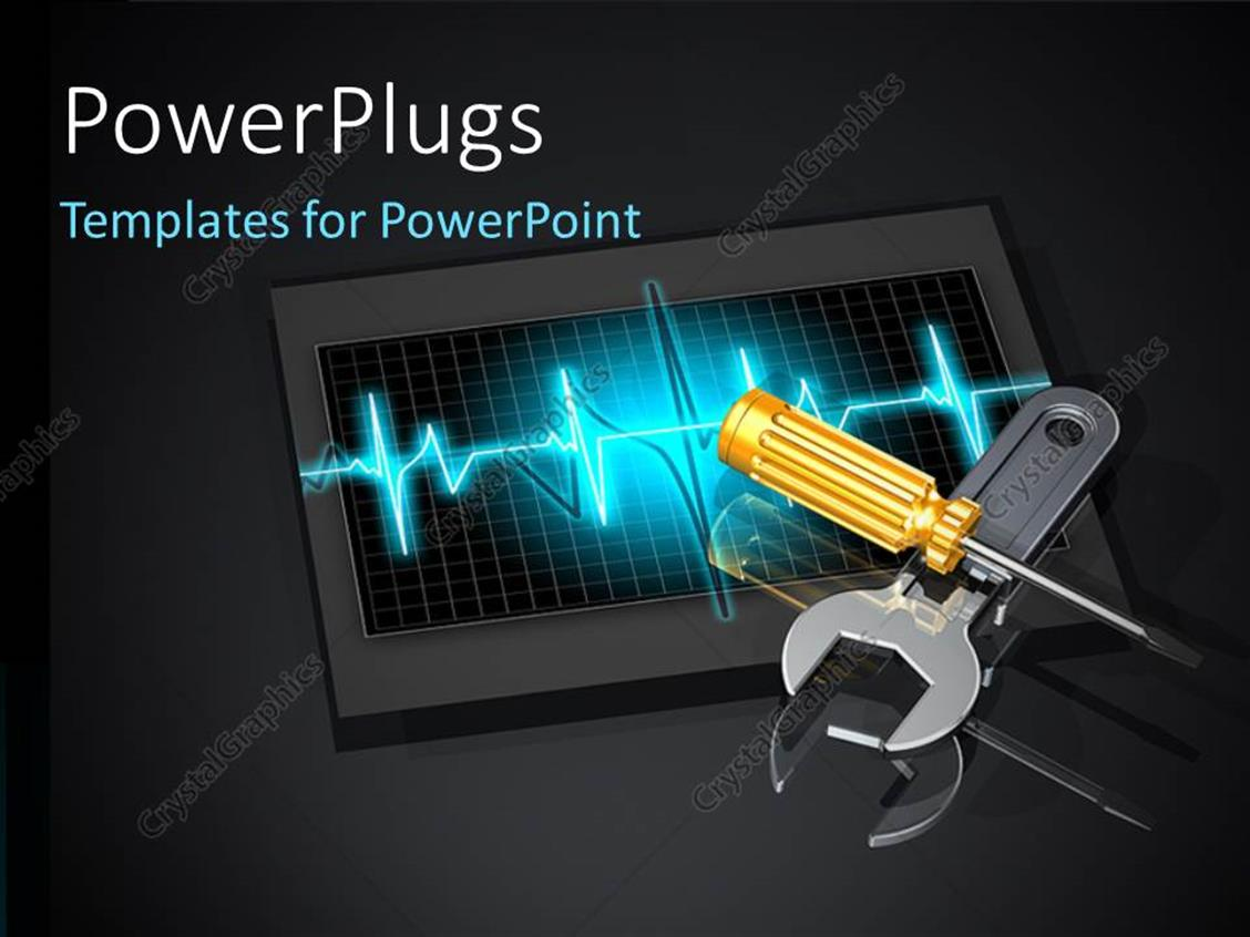 Powerpoint Template Wrench And Screwdriver Laying Crisscrossed On Pulse Monitor 1357