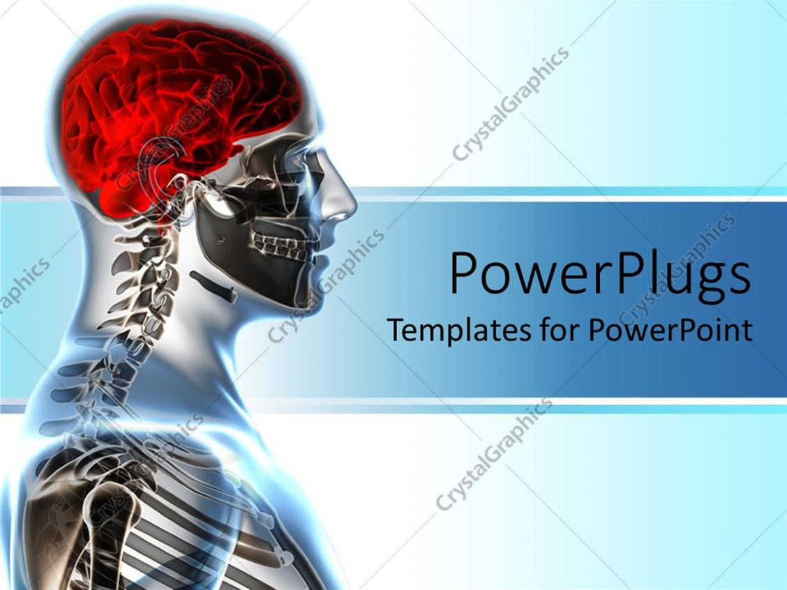 PowerPoint Template: X-ray showing human anatomy and red brain on ...