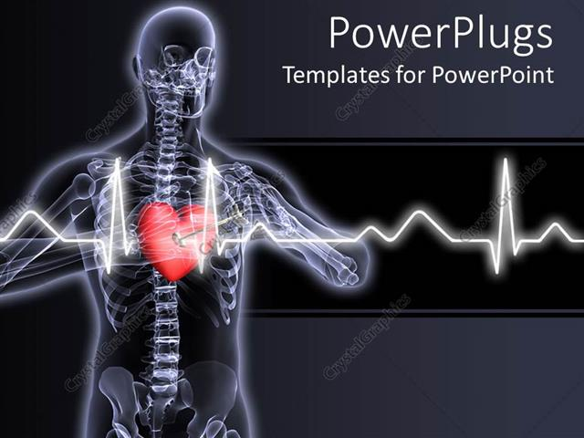 Powerpoint Template X Ray Vision Of Man With Red Heart And Pulses