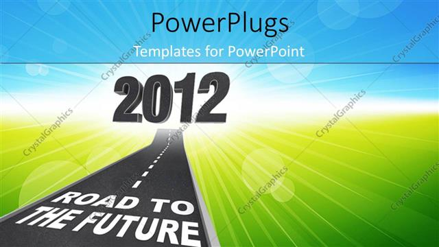 PowerPoint Template Displaying a Road with some Text and