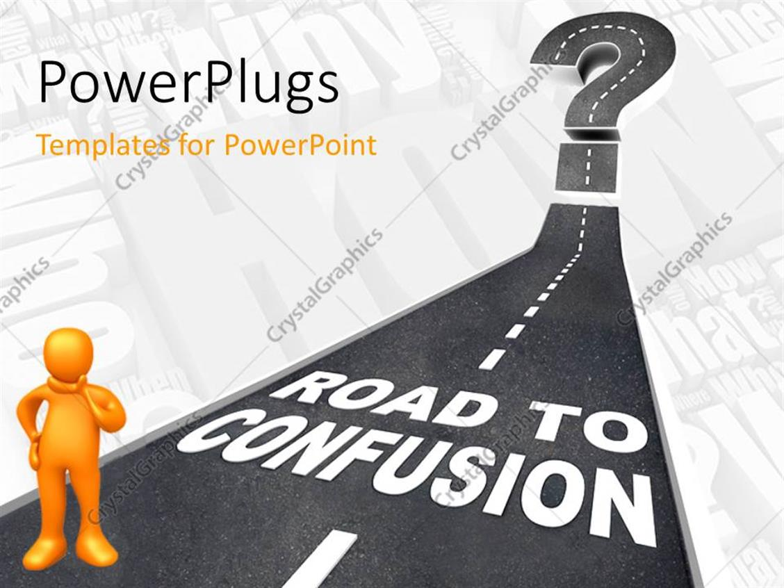 PowerPoint Template: Yellow 3D man on road leading to confusion with ...