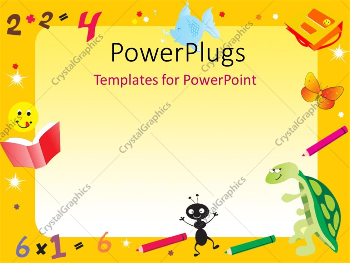 PowerPoint Template Displaying Yellow Abstract Frame for Kids with Numbers, Shapes and Animal Drawings