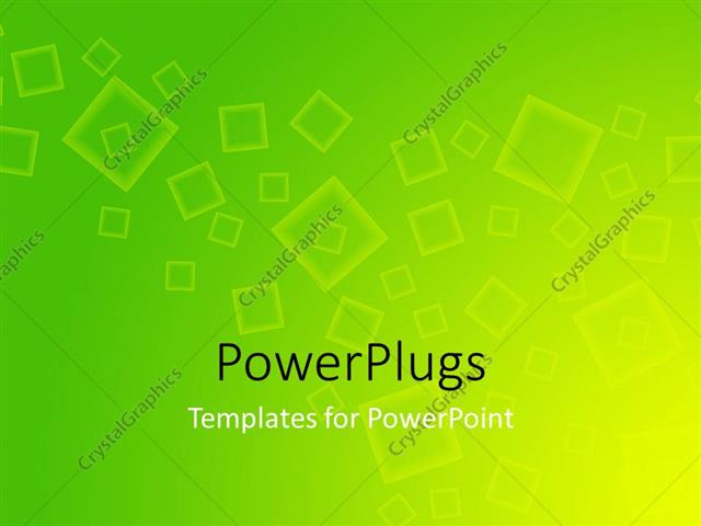 PowerPoint Template Displaying Yellow and Green Colored Square Art with Gradient