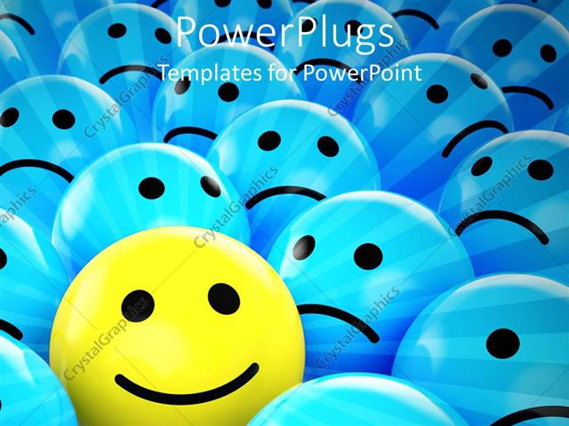 powerpoint template yellow happy smiley face between blue sad faces
