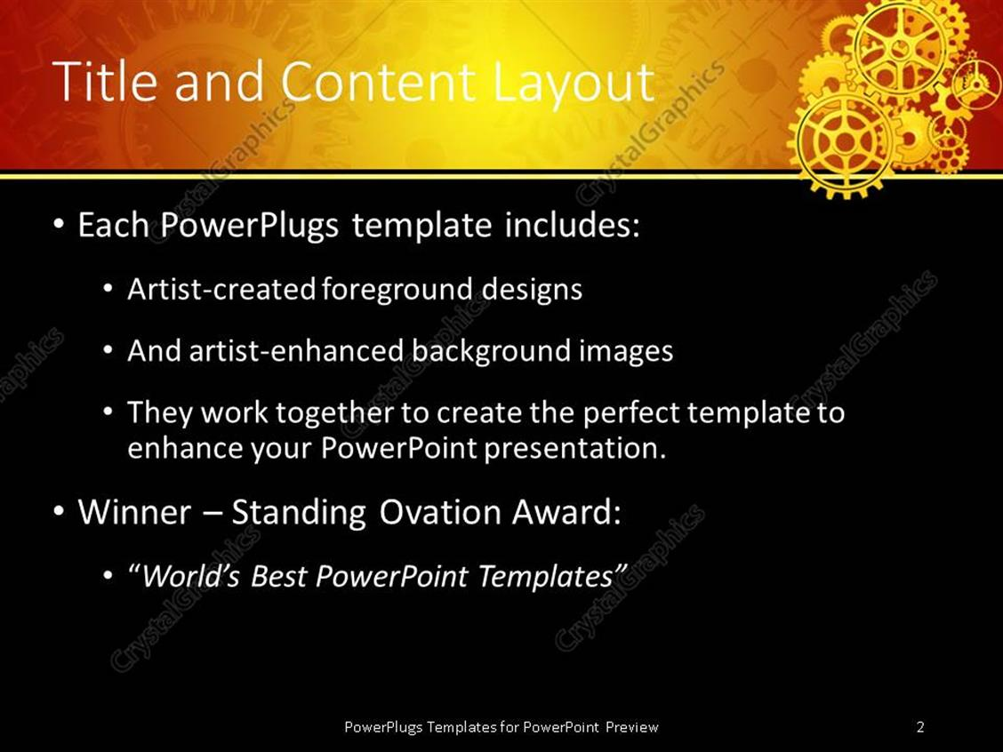 Powerpoint template yellow mechanical gears placed for moving the powerpoint products templates secure toneelgroepblik Gallery