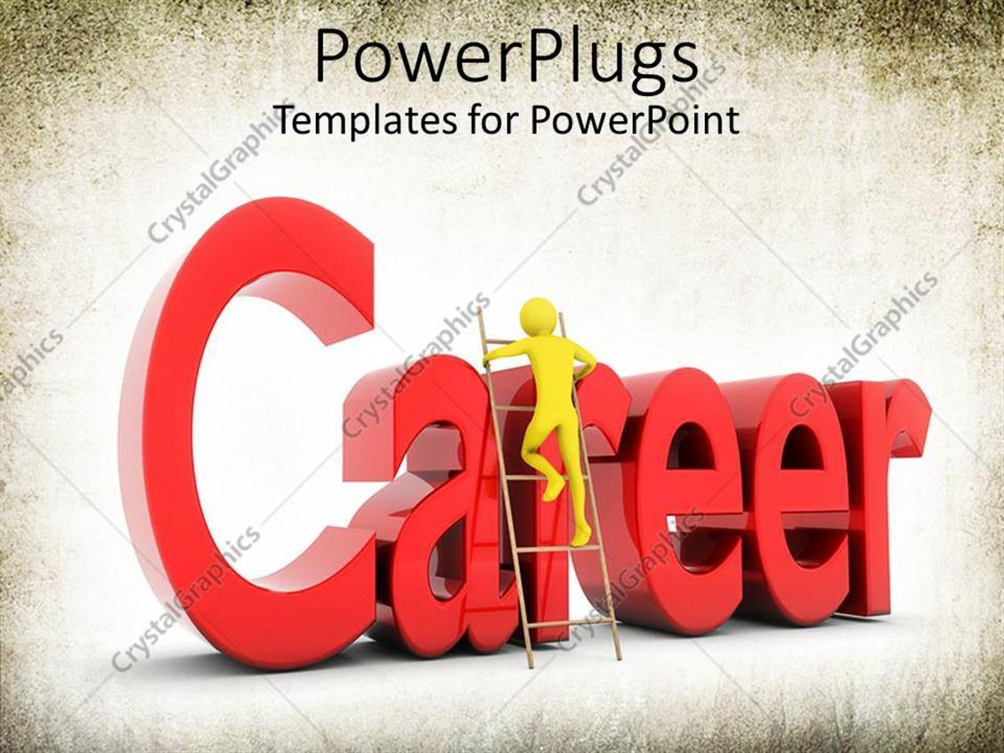 PowerPoint Template Displaying Yellow Person Climbing Ladder with Word Career in Red