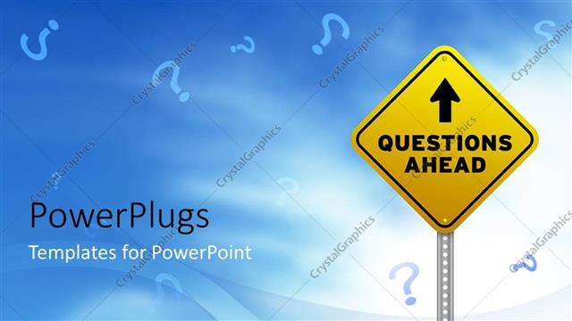 PowerPoint Template Displaying Yellow Road Sign with Indication 'Questions Ahead', Questions Marks Flying in the Sky