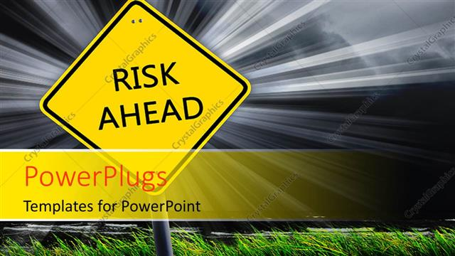 PowerPoint Template Displaying a Sign Post with Text on it and a Shinning Light