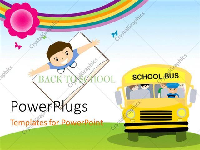 Powerpoint template yellow school bus transporting children to powerpoint template displaying yellow school bus transporting children to school with kid standing on toneelgroepblik Gallery
